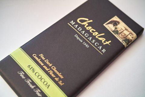 ショコラマダガスカル;ダークチョコレート61% こぶみかん フルール・ド・セル